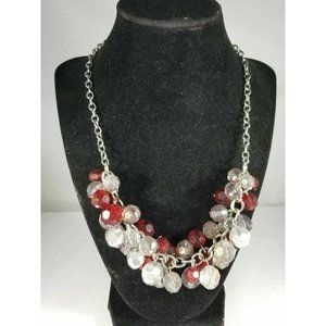 Red Gray Multi Faceted Cluster Necklace